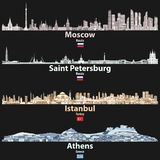 Vector abstract illustration of Moscow, Saint Petersburg, Istanbul and Athens cities skylines at night in bright color palettes is. Olated on black background vector illustration