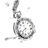 Vector abstract illustration of a pocket watch on a chain. Stock Images