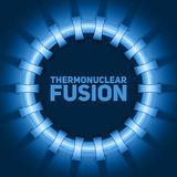 Vector abstract illustration of thermonuclear fusion reactor. Plasma current flows in toroidal field coils. Royalty Free Stock Photo