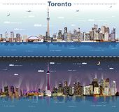Vector abstract illustration of Toronto at day and night Royalty Free Illustration