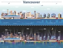 Vector abstract illustration of Vancouver at day and night Stock Illustration