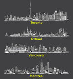 Vector abstract illustrations of canadian urban city skylines at night Royalty Free Stock Photography
