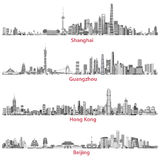 Vector abstract illustrations of Shanghai, Guangzhou, Hong Kong and Beijing skylines Royalty Free Stock Photo