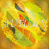 Vector abstract image of autumn leaves. With circular ornaments on gold background Royalty Free Stock Photo