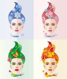 The image on the subject of the four seasons in the form of beau vector illustration