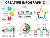 Vector abstract infographics number options template. Can be used for workflow layout, diagram, business step options. Banner, web design. Circles, squares royalty free illustration