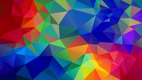 Vector irregular polygon background - triangle low poly pattern - full spectrum multi color rainbow - red, orange, yellow. Vector abstract irregular polygon stock illustration