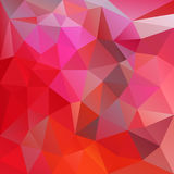 Vector abstract irregular polygon background triangle pattern in vibrant red and pink color Royalty Free Stock Photos