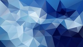 Vector irregular polygonal background - triangle low poly pattern - dark deep royal and light sky blue color. Vector abstract irregular polygonal background stock illustration