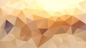 Vector irregular polygonal background - triangle low poly pattern - sand beige, pastel yellow and brown color stock illustration