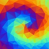 Vector irregular polygonal background - triangle low poly pattern - vibrant rainbow spiral - full color spectrum. Vector abstract irregular polygonal background Stock Photos