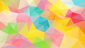 Vector irregular polygonal square background - triangle low poly pattern - dark brown opal color with pink , green and bl. Vector abstract irregular polygonal stock illustration