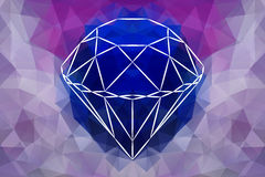 Vector Abstract Jewelry diamond, geometric shape of gemstone. Sapphire color Royalty Free Stock Photography