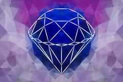 Vector Abstract Jewelry diamond, geometric shape of gemstone. Sapphire color vector illustration
