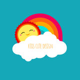 Vector abstract kids cute design element. Shapes of sun, cloud a. Nd rainbow on blue sky background. Happy smiley face of sun character. Modern bright colors Royalty Free Stock Photos