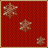 Vector abstract knitted red background with yellow Stock Images