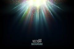 Vector abstract licht Het heldere gloeien op donkere achtergrond Royalty-vrije Stock Afbeelding