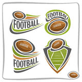 Vector abstract logo american Football Ball. Decoration sign sports club, simple line brown ball pigskin flying above green field in goal, isolated sporting Stock Images