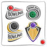 Vector abstract logo Bowling. Ball on wood alley lane royalty free illustration