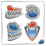 Vector abstract logo Boxing Gloves. On blue ring arena with corner and rope Royalty Free Stock Photography