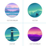 Vector abstract logo design templates with gradient landscapes Stock Photography