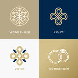 Vector abstract logo design templates in trendy minimal style Stock Photo