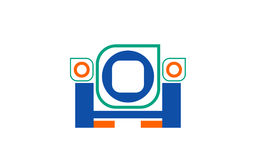 Vector abstract logo from geometric figures of green, blue orange and blue H on white background.  Stock Photography