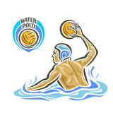 Vector abstract logo for Water Polo. Player throw Ball in goal, attacking swimmer shot yellow polo ball in gate, sportsman in pool with blue water waves and Stock Photos