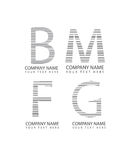 Vector abstract m, b, f and g letter icons, business logotype set, company logo symbols Stock Photos