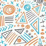 Abstract marker colorful lines seamless pattern Stock Photo