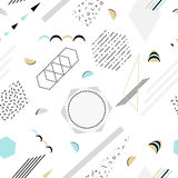 Vector abstract memphis pattern with mosaic geometric shapes - seamless. Retro memphis hipster style, fashion 80-90s Stock Images