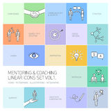 Vector abstract mentoring and coaching linear icons Stock Photography