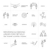 Vector abstract mentoring and coaching linear icons. And pictograms set of skills and solutions black isolated on white background stock illustration