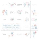 Vector abstract mentoring and coaching linear icons. And pictograms set of skills and solutions blues and red islated on white background Royalty Free Stock Images