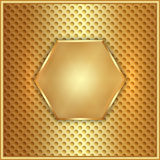 Vector abstract metal gold hexagon with cells Royalty Free Stock Images