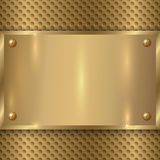 Vector abstract metal old gold plaque on the cell Royalty Free Stock Photos