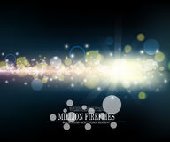 Vector abstract million fireflies dark blue bokeh background des. Ign , illuminated light effect Royalty Free Stock Image
