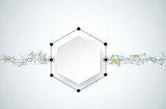 Vector Abstract molecules with 3D paper and Polygonal on light gray color background. 3D paper Hexagon label with space for your content, business, network and Stock Photography