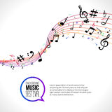 Vector abstract Music notes on colorful lines. On white isolated background. Musical concept.  royalty free illustration