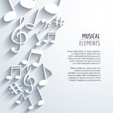 Vector abstract Music notes with shadows. On white  background. Musical concept Royalty Free Stock Image