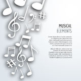 Vector abstract Music notes with shadows. On white isolated background. Musical concept Stock Image