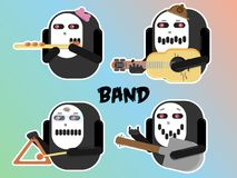 Vector abstract musical band character illustration stock illustration