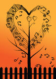 Vector abstract musical tree and heart Stock Images