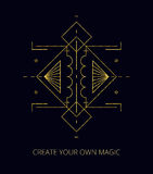Vector. Abstract mystic sign. Gold geometric shape. Vector illustration. Gold line. Abstract mystic sign with magic geometric shapes, lines, circles, dots. Use stock illustration