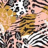 Vector abstract naadloos patroon met dierlijke huidmotieven stock illustratie