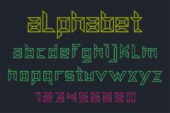 Vector of neon font and alphabet royalty free illustration