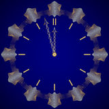 Vector abstract New Year golden clock on dark blue Royalty Free Stock Photo