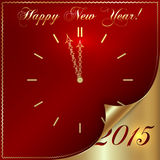 Vector abstract New Year golden clock on dark red. Background several minutes from midnight Royalty Free Stock Photography