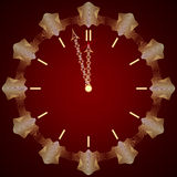 Vector abstract New Year golden clock on dark red Stock Photography