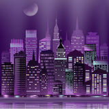 Vector abstract night cityscape skyscrapers with reflection Royalty Free Stock Image